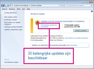 Koppelingen in het deelvenster Windows Update