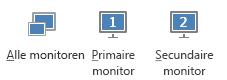 Schermafbeelding van het tabblad Presenteren met primair en secundair beeldscherm, en alle beeldschermen