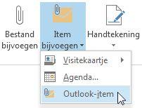 Opdracht Outlook-item bijvoegen op het lint