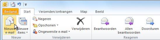Opdracht Nieuwe e-mail op het lint