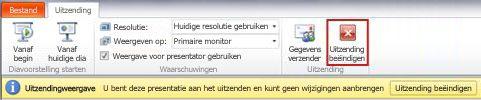 het tabblad uitzending wordt weergegeven tijdens de uitzending van een diapresentatie in powerpoint 2010.