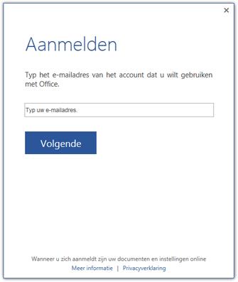 Eerste aanmeldingsscherm of scherm om van account te wisselen
