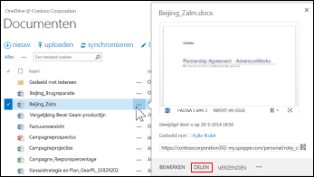 Een document in een SharePoint-bibliotheek delen