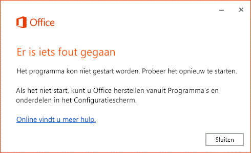 Fout 'Er is iets fout gegaan' bij openen Office-app