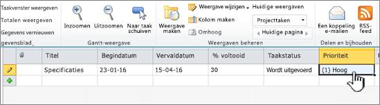 Titel, datums en status van de projecttaak invullen