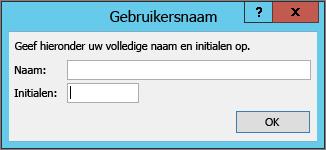 Dialoogvenster Gebruikersnaam
