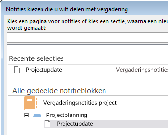 Notities kiezen om te delen