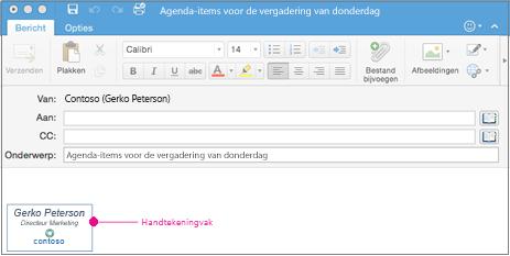 Een e-mailbericht met handtekeningvak