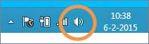 Focus op het pictogram voor luidsprekers in Windows dat op de taakbalk wordt weergegeven