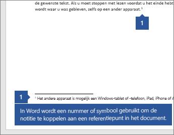 Word een cijfer of symbool wordt gebruikt om te koppelen van de notitie aan een verwijzing punt in het document