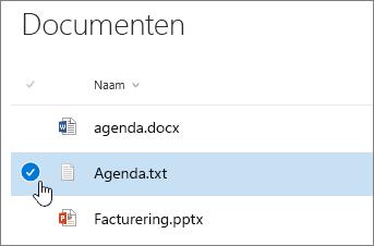 Gemarkeerd document met cursor boven selectievakje