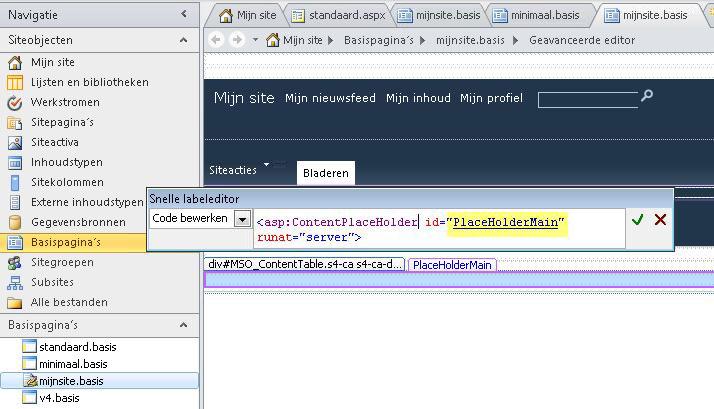 Het besturingselement PlaceHolderMain wordt vervangen door elke inhoudspagina wanneer de basispagina van Mijn site in een browser wordt bekeken.