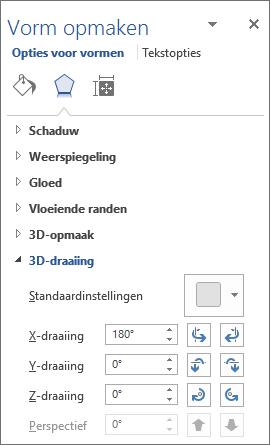 X-draaiing op het tabblad Effecten