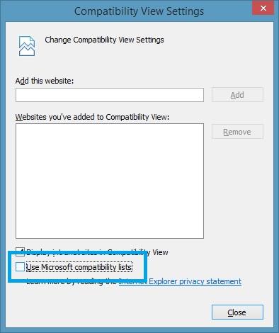 disable compatibility lists