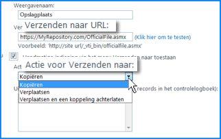 Schermafbeelding van het gedeelte Verbindingsinstellingen van de pagina Verbinding voor Verzenden naar in het SharePoint Online-beheercentrum. Hier kunt u de URL opgeven voor een doellocatie voor Inhoudsbeheer.