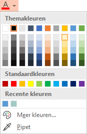 Selecteer pijl omlaag naast de knop Tekstkleur om het menu met kleuren te openen