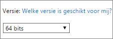 Selecteer 64-bits in de vervolgkeuzelijst Versie
