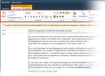 rich text editor voor weblogberichten