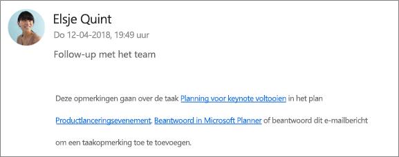 Scherm vastleggen: met een groep e-mailadres waar beantwoorden van een collega naar de eerste opmerking.