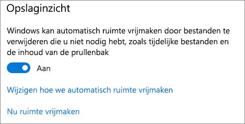 Windows 10 Opslag in-/uitschakelen om Slim opslaan te activeren