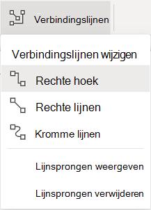 Het tabblad Vormen van het lint heeft een menu Verbindingen met opties.