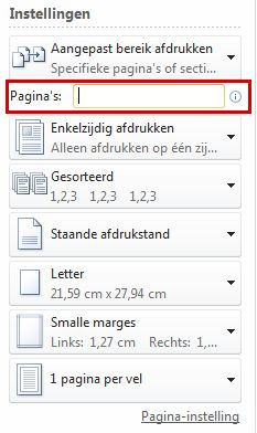 In the Pages box, type in the pages.