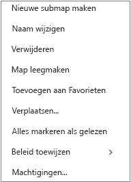 Contextmenu (snelmenu) dat verschijnt wanneer u met de rechtermuisknop op een persoonlijke map klikt