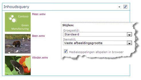 webonderdeel inhoudsquery dat is geconfigureerd met een vaste afbeeldingsgrootte