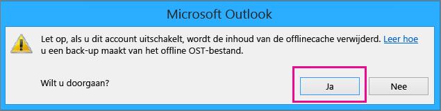 Wanneer u uw gmail-account uit Outlook verwijdert, klikt u op Ja in de waarschuwing over het verwijderen van uw offlinecache.