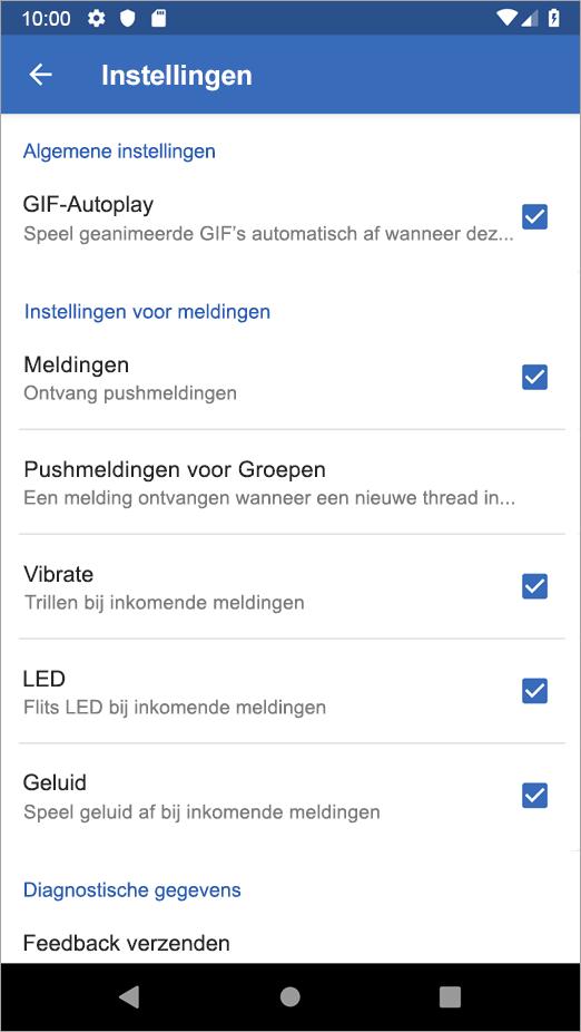 Opties voor Yammer voor Android-instellingen