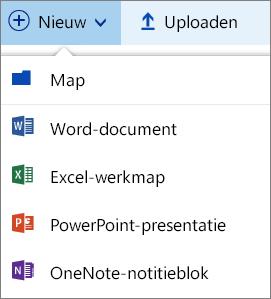 Menu  Nieuw in OneDrive