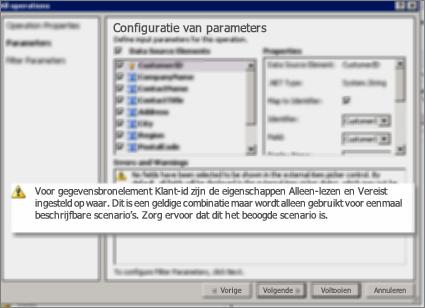 Schermafbeelding 2 van het dialoogvenster Alle bewerkingen in SharePoint Designer. Deze pagina bevat waarschuwingen waarin instellingen voor belangrijke eigenschappen in de lijst worden uitgelegd.