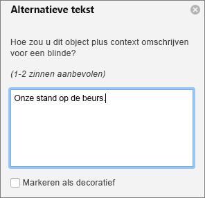 Het deelvenster alternatieve tekst in Word