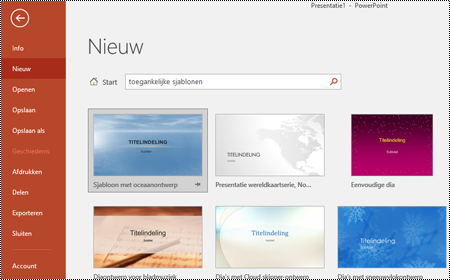 Sjabloonweergave in PowerPoint voor Windows.