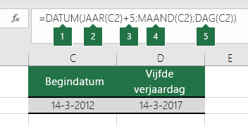 Een datum berekenen op basis van een andere datum