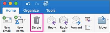 Klik op het tabblad Start op de knop verwijderen