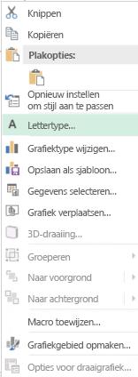 Schermafbeelding van opties die beschikbaar zijn in snelmenu na selectie van categorieaslabels, inclusief gemarkeerd optie van lettertype.