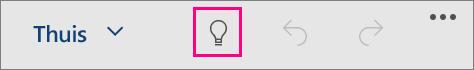 Hier ziet u het pictogram 'Uitleg' in Office voor Windows 10 Mobile