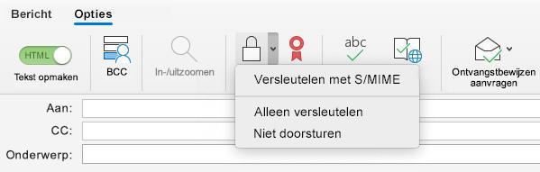 Versleutelen met S/MIME-optie