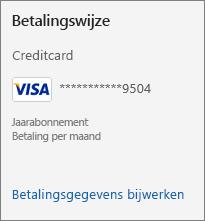 Het gedeelte betalingsmethode van de abonnementenpagina, waarin de koppeling Betalingsgegevens bijwerken wordt weergegeven.