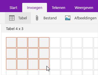 Opdracht tabel invoegen met een weergave van selectieraster