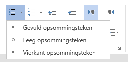 Schermafbeelding van de optie Opsommingstekens in de groep Alinea op het tabblad Start met de opties Gevuld opsommingsteken, Leeg opsommingsteken en Vierkant opsommingsteken.