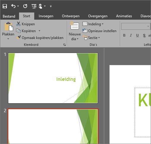 Toont het thema Zwart in PowerPoint 2016 voor Windows
