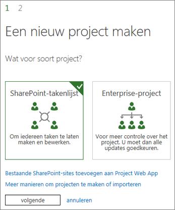 Een nieuw project maken