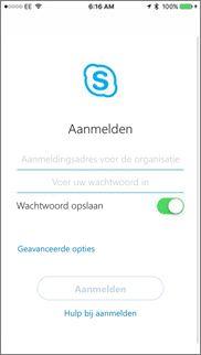 Aanmeldingsscherm in Skype voor Bedrijven op iOS