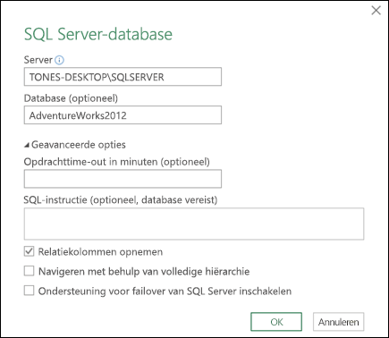 Het dialoogvenster SQL Server-databaseverbinding in Power Query
