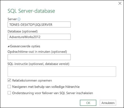 Een Sql Server Database Aan De Werkmap Koppelen Power Query