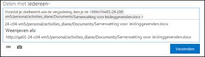 De URL van een document geplakt in een nieuwsfeedpost