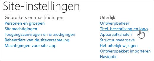 Site-instellingen met titel, beschrijving, geselecteerd logo