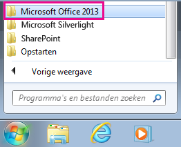Office 2013-groep onder Alle programma's in Windows 7